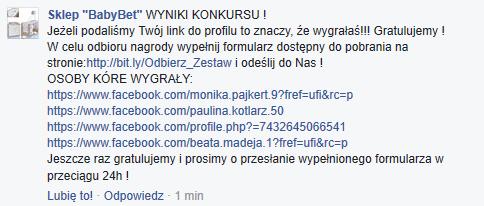 nielegalne konkursy na fb